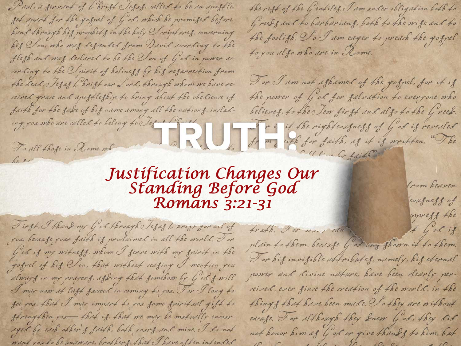 Romans 3:21-31 An Introduction To The Doctrine of Justification