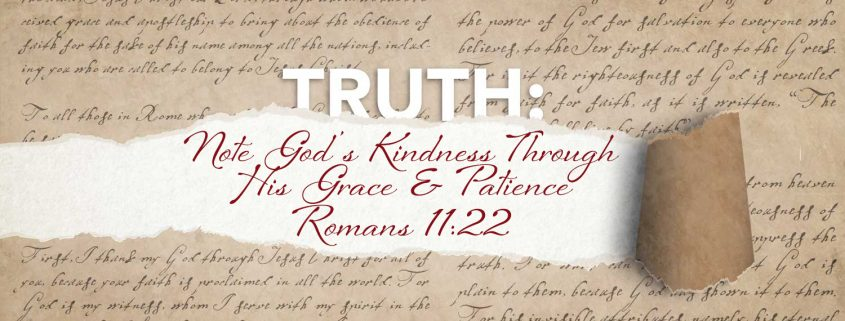 The kindness of God though Grace and Patience banner