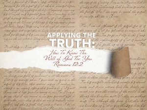 discerning the will of God - Romans 12:2 banner