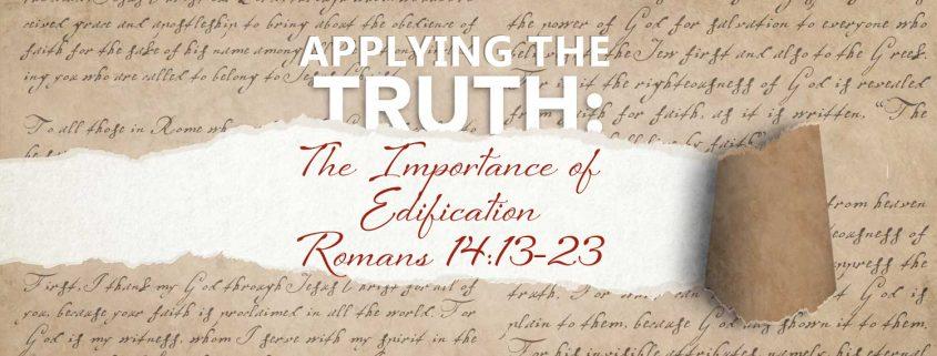 Romans 14v13-23 Edification banner
