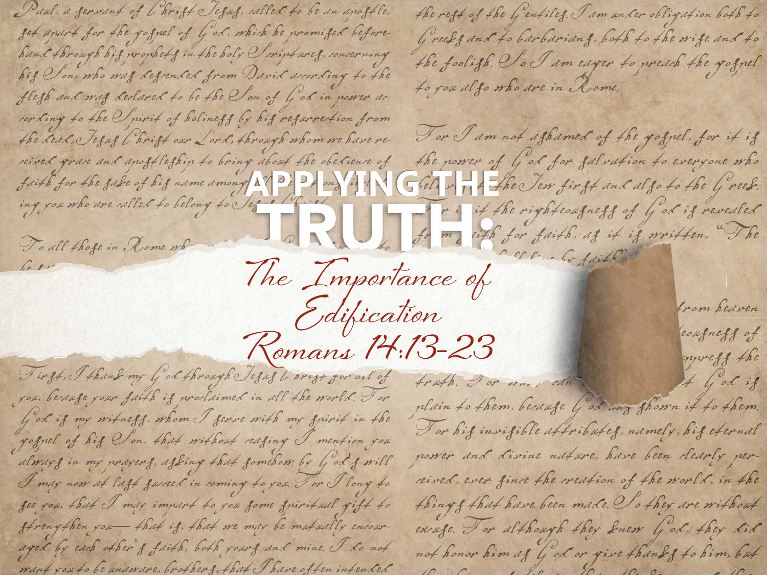 Read more about the article Romans 14 v 13-23 The Importance of Edification
