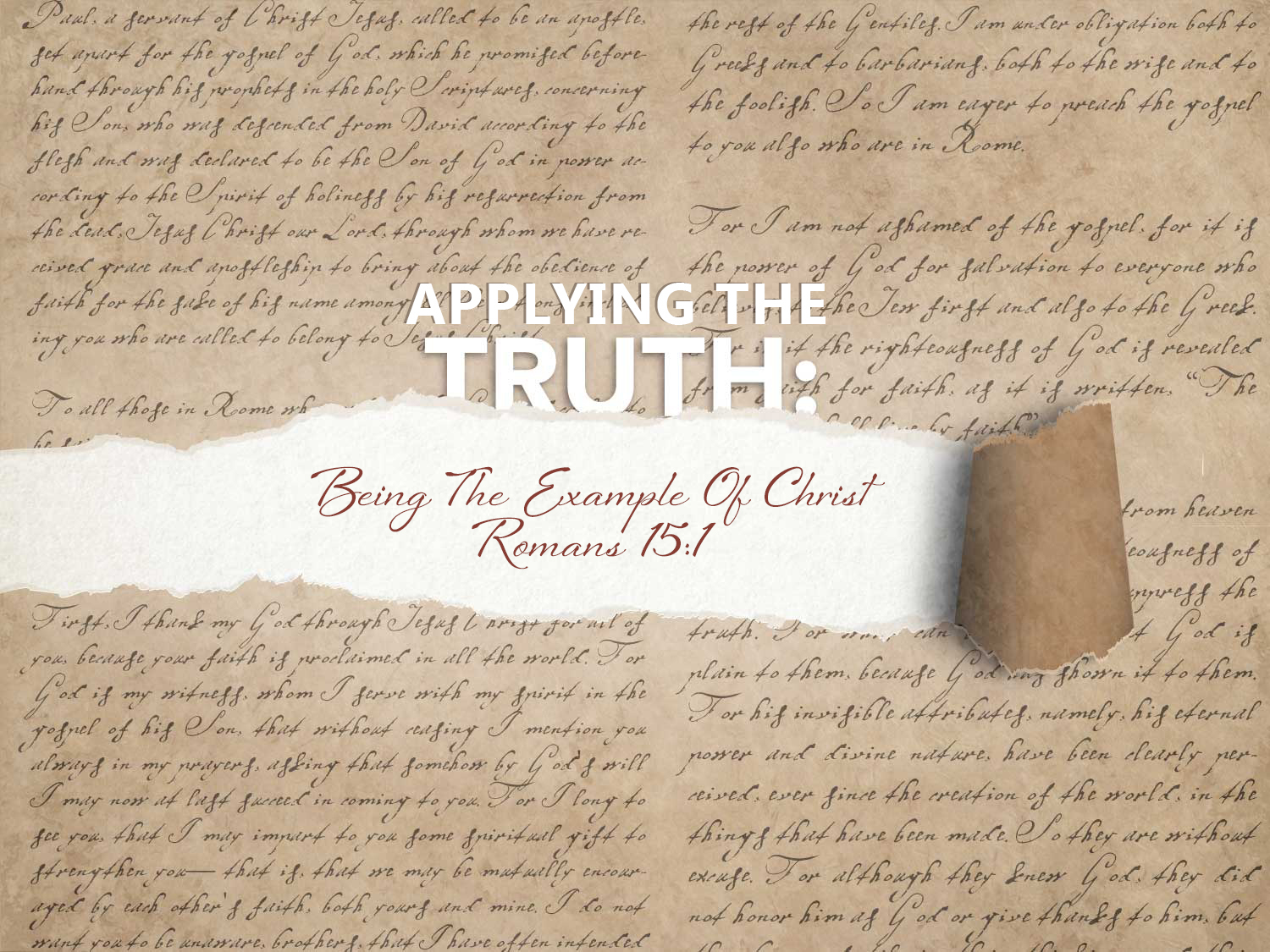 Read more about the article Romans 15 v 1-3 Being The Example Of Christ
